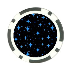 Bright Blue  Stars In Space Poker Chip Card Guards by Costasonlineshop