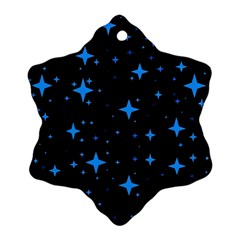 Bright Blue  Stars In Space Snowflake Ornament (2 Side)