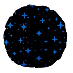Bright Blue  Stars In Space Large 18  Premium Round Cushions