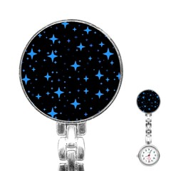 Bright Blue  Stars In Space Stainless Steel Nurses Watch