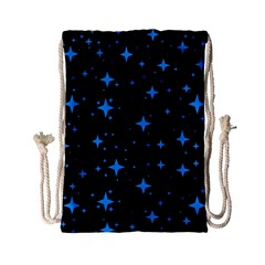 Bright Blue  Stars In Space Drawstring Bag (small) by Costasonlineshop