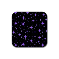 Bright Purple   Stars In Space Rubber Coaster (square)  by Costasonlineshop