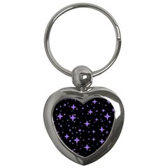 Bright Purple   Stars In Space Key Chains (heart)  by Costasonlineshop