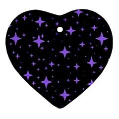 Bright Purple   Stars In Space Heart Ornament (2 Sides)