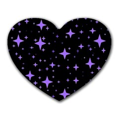 Bright Purple   Stars In Space Heart Mousepads