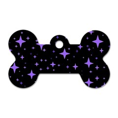 Bright Purple   Stars In Space Dog Tag Bone (two Sides)