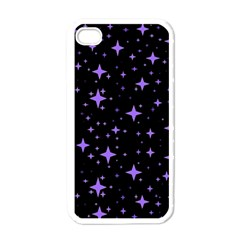 Bright Purple   Stars In Space Apple Iphone 4 Case (white) by Costasonlineshop