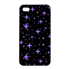 Bright Purple   Stars In Space Apple Iphone 4/4s Seamless Case (black) by Costasonlineshop