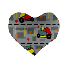 Toy Cars Standard 16  Premium Flano Heart Shape Cushions by Valentinaart