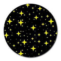 Bright Yellow   Stars In Space Round Mousepads