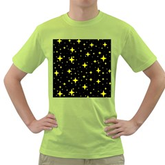 Bright Yellow   Stars In Space Green T Shirt