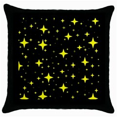 Bright Yellow   Stars In Space Throw Pillow Case (black) by Costasonlineshop