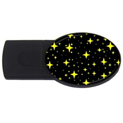 Bright Yellow   Stars In Space Usb Flash Drive Oval (2 Gb)  by Costasonlineshop
