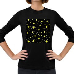 Bright Yellow   Stars In Space Women s Long Sleeve Dark T Shirts by Costasonlineshop