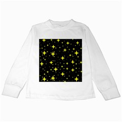 Bright Yellow   Stars In Space Kids Long Sleeve T Shirts