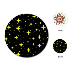Bright Yellow   Stars In Space Playing Cards (round)  by Costasonlineshop