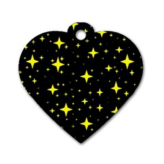 Bright Yellow   Stars In Space Dog Tag Heart (two Sides) by Costasonlineshop
