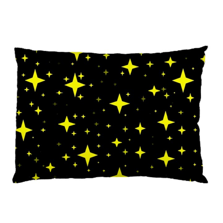 Bright Yellow   Stars In Space Pillow Case (Two Sides)