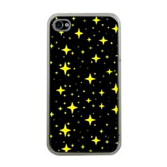 Bright Yellow   Stars In Space Apple Iphone 4 Case (clear) by Costasonlineshop