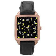 Bright Yellow   Stars In Space Rose Gold Leather Watch
