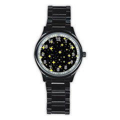 Bright Yellow   Stars In Space Stainless Steel Round Watch