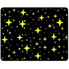 Bright Yellow   Stars In Space Double Sided Fleece Blanket (medium)  by Costasonlineshop