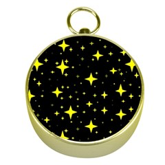 Bright Yellow   Stars In Space Gold Compasses