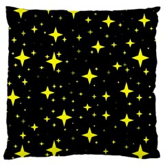 Bright Yellow   Stars In Space Large Flano Cushion Case (two Sides) by Costasonlineshop