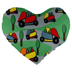 Toy Car Pattern Large 19  Premium Flano Heart Shape Cushions by Valentinaart