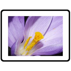 Pruple Crocus Fleece Blanket (large)  by PhotoThisxyz