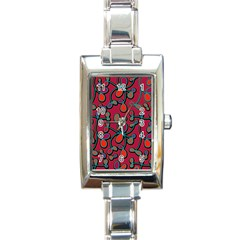 Red Floral Pattern Rectangle Italian Charm Watch by Valentinaart