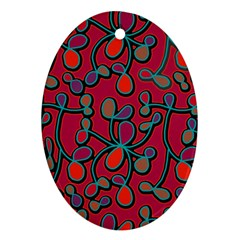 Red Floral Pattern Ornament (oval)  by Valentinaart