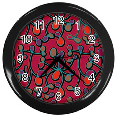 Red Floral Pattern Wall Clocks (black) by Valentinaart