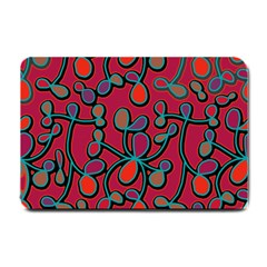 Red Floral Pattern Small Doormat  by Valentinaart