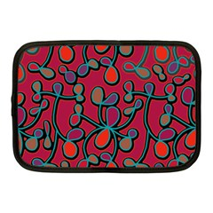 Red Floral Pattern Netbook Case (medium)  by Valentinaart