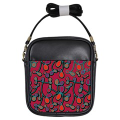 Red Floral Pattern Girls Sling Bags by Valentinaart