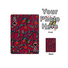 Red Floral Pattern Playing Cards 54 (mini)  by Valentinaart