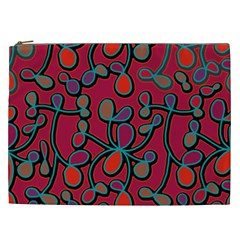 Red Floral Pattern Cosmetic Bag (xxl)  by Valentinaart