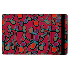 Red Floral Pattern Apple Ipad 2 Flip Case by Valentinaart