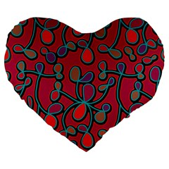 Red Floral Pattern Large 19  Premium Heart Shape Cushions by Valentinaart