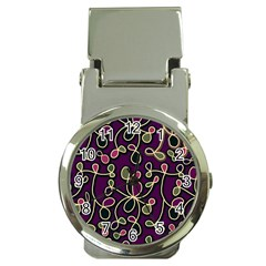 Elegant Purple Pattern Money Clip Watches by Valentinaart