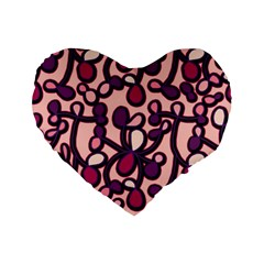 Pink And Purple Pattern Standard 16  Premium Flano Heart Shape Cushions by Valentinaart