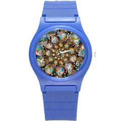 Marbled Spheres Spiral Round Plastic Sport Watch (s) by WolfepawFractals