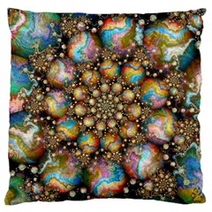 Marbled Spheres Spiral Large Cushion Case (two Sides) by WolfepawFractals