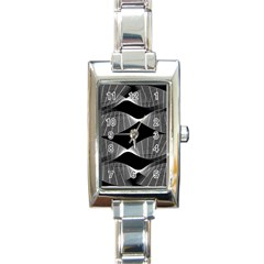 Wavy Lines Black White Seamless Repeat Rectangle Italian Charm Watch
