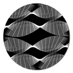 Wavy Lines Black White Seamless Repeat Magnet 5  (round)