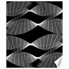 Wavy Lines Black White Seamless Repeat Canvas 20  X 24