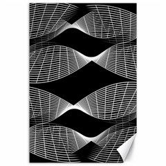 Wavy Lines Black White Seamless Repeat Canvas 24  X 36