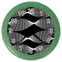 Wavy Lines Black White Seamless Repeat Color Wall Clocks