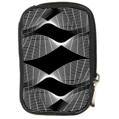 Wavy Lines Black White Seamless Repeat Compact Camera Cases by CrypticFragmentsColors